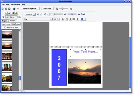 photo calendar, step 5 - add front cover