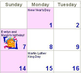 photo calendar, birthday reminder added