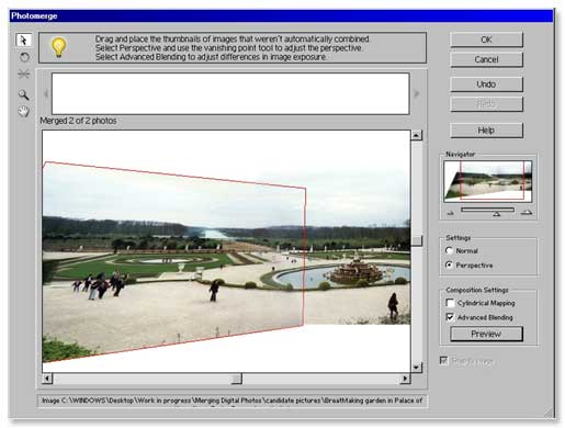 Photomerge screen shot